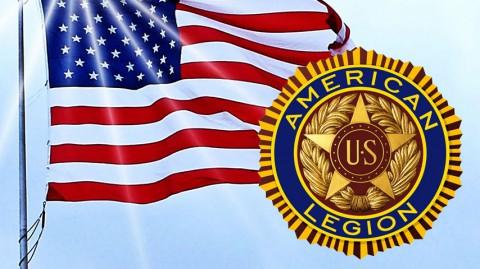 American flag with American Legion logo